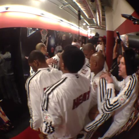 The @MiamiHEAT huddle up before taking the floor for #NBAFinals Game 6.